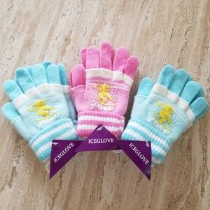 Set of 3 New Multicolor Double Layered Wool Gloves